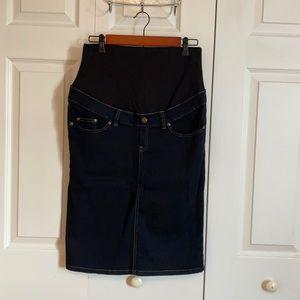 Ripe Maternity Knee Length Denim Pencil Skirt